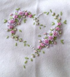 embroidered rosebud heart