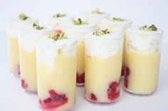 LEMON CURD SHOTS WITH RASPBERRIES, CREAM + PISTACHIOS