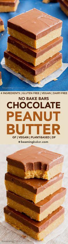 4 Ingredient No Bake Vegan Chocolate Peanut Butter Bars #GlutenFree #DairyFree   BeamingBaker.com
