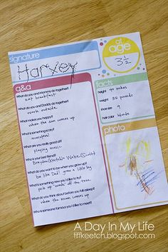 Birthday Interview - Free Double-Sided Printable!  Fill out a new one each year...great idea!