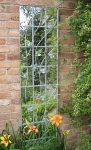 Galvanised trellis garden mirror