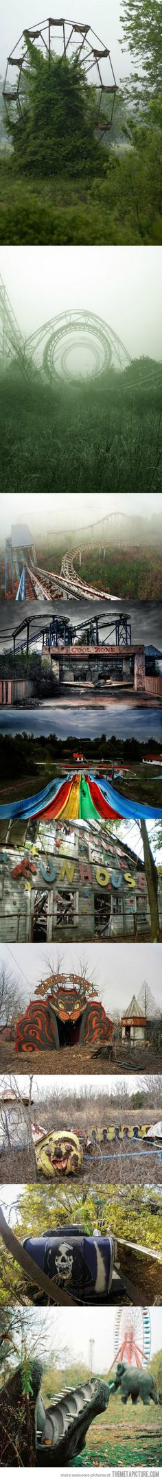 Creepy Photos of Abandoned Amusement Parks. Creepy, but super cool...I'm just weird like that Abandoned Theme Parks, Abandoned Amusement Parks, Abandoned Mansions, Abandoned Buildings, Abandoned Places, Creepy Photos, Beautiful Places, Haunted Places, Old Buildings
