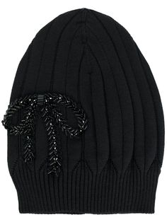 Nº21 bow embroidered beanie hat