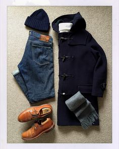 Today's Outfit. #Gloverall Original 512 Duffle Coat 40's #USMC Utility Jacket #Inverallan Turtle Neck Shetland Sweater & Wool Knit Cap #Johnstons Cashmere Scarf #RRL Slim Fit Jeans #ALDEN no9905...