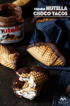4 Ingredient Nutella Choco Tacos | sharedappetite.com A perfect Cinco de Mayo dessert and Taco Tuesday dessert, this copycat Choco Taco recipe is even better than the original because it's lined with Nutella!