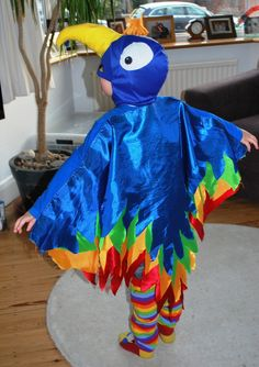 Parrot costume, make cape with various colours and cut out feathers, stick together along top with wonderweb, stitch onto Tshirt. stick felt eyes on batman costume mask. make beak of felt stuffed with cotton wool, rainbow leg warmers, done!