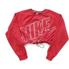 Reworked Nike Crop Sweatshirt Red ($48) ❤ liked on Polyvore featuring tops, sweaters, nike, crop top, red top, nike tops and red crop top