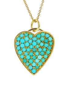 Turquoise Beaded Heart Pendant Necklace - Yellow Gold