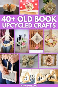 Find unique things to do with old books with this great list of old book page crafts and decor ideas that are rustic and easy to make! This list includes gorgeous old book page wreaths, old book page flowers, cute old book page holiday decorations, and more! Diy Old Books, Old Book Crafts, Book Page Crafts, Easy Paper Crafts, Crafts To Make, Paper Crafting, Ball Decorations, Holiday Decorations, Book Page Flowers