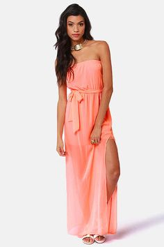Mermaid in Heaven Strapless Neon Coral Maxi Dress