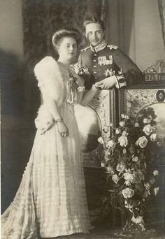 Their Royal Highnesses Prince August Wilhelm and Princess Alexandra Victoria of Prussia. Married:  October 22, 1908