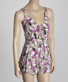 Look at this Pink Daisy Tie-Front Swimdress on #zulily today!