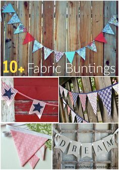10 + Fun Fabric Buntings Sewing Projects - these are so cute!  Great collection of different styles too.  Could be used for any holiday.