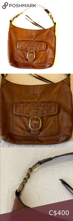 Coach bag Used coach bag in gorgeous cognac brown w side pouch brass metals has a couple stains inside leather is slightly worn but in very good condition cones w fabric bag Coach Bags Shoulder Bags Plus Fashion, Fashion Tips, Fashion Trends, Brass Metal, Metals, Coach Bags, Shoulder Bags, Pouch, Stains