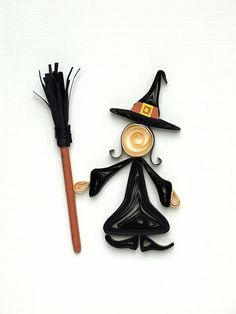 Best Witches  Halloween paper quilling card by szalonaisa on Etsy,