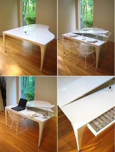 Piano Table - This wouldn't work in my condo, but I think it is so cool!