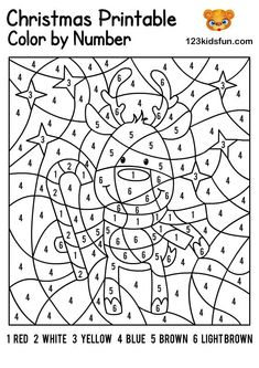 FREE Christmas Color by Number, Coloring Pages for Kids Printable. Kids learning color and numbers. Best activities for Toddlers and preschoolers. Free Printable Christmas Worksheets, Printable Christmas Coloring Pages, Christmas Coloring Sheets For Kids, Coloring Pages For Kids, Adult Coloring, Coloring Books, Christmas Color By Number, Christmas Colors, Christmas Tree