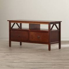 Winston Porter Coe TV Stand for TVs up to 50 inches Color: Antique Tobacco Traditional Console Tables, Traditional Furniture, Low Profile Tv Stand, Tv Stand Wayfair, Tv Stand Set, Cool Tv Stands, Entertainment Table, Wood Drawers, Adjustable Shelving
