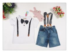 2016 new summer boys clothing sets gentleman set baby boy clothes shirt and suspender trousers Gen Free Shipping