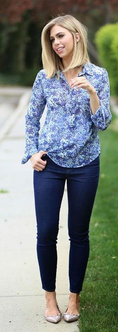 Floral Blouse Classic Style