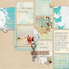 {Great layout, good idea for project life cards} Beach Scrapbook Layouts, Scrapbook Sketches, Travel Scrapbook, Scrapbook Paper Crafts, Scrapbooking Layouts, Scrapbook Cards, Friend Scrapbook, Scrapbook Photos, Wedding Scrapbook