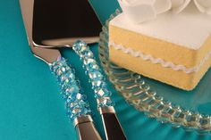 Ocean blue wedding cake server and knife by TheVintageWedding, $59.99