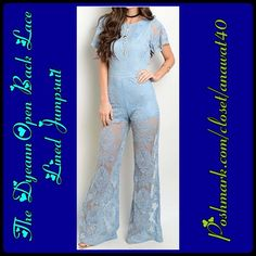 "The Dyeann Open Back Lace Lined Jumpsuit The Dyeann Open Back Lace Lined Jumpsuit be the best-dressed guest for any occasion with this stunning jumpsuit, featuring a sheer lace bodice and laced pants. Round Neck. Sleeveless. Wide leg openings. Fabric Content:100% Polyester. Length:60"" Color:Blue Pants Jumpsuits & Rompers"