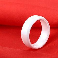 Polished Shiny Hi-Tech White Ceramic Wedding Band Beveled Edges - Tungsten Republic
