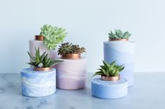 I'm a huge fan of the concrete and cement planter trend that's been popping up on DIY blogs for a while now—but while painting the dull gray surface of standard concrete works, I knew there had to be a cooler way of coloring these little plant homes. After some research and hands-on testing, it turns out that the trick is starting with white concrete and stirring in powdered pigments. From there, the sky's the limit. Marble them, create an ombre stack, go two-tone. You really can't go wrong…