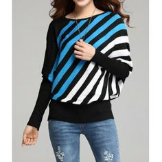 Stylish Round Collar Stripe Loose Fit Batwing Long Sleeves Women's Sweater, LAKE BLUE, ONE SIZE in Sweaters & Cardigans | DressLily.com