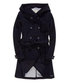Loving this Black Tie-Waist Wool-Blend Trench Coat on #zulily! #zulilyfinds