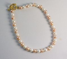 Cultured Pearls Anklet / Two Color Pearl Anklet / by SunMoonJewels