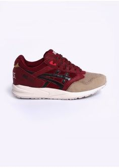 Asics Gel Saga Trainers 'Christmas Pack' - Burgundy      A limited edition      a warm colour palette      premium suede upper     a perforated toe-box     leather accents      a clean white Gel sole unit.
