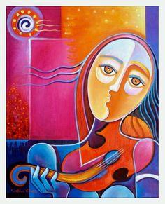 Tirage d'Art giclée sur toile de mon rouge Original par MarlinaVera, $150.00