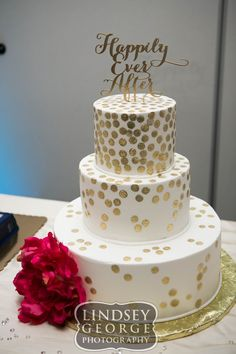 Pretty three tier wedding cake with gold dots The Cake Gallery Omaha Nebraska click to view full gallery Omaha Nebraska wedding reception DC Centre