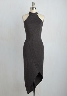My Guardian Angle Sheath Dress - Grey, Solid, Sheath, Sleeveless, Fall, Winter, Knit, Better, Long, Party, Cocktail, Girls Night Out, Minimal, Halter, Halter