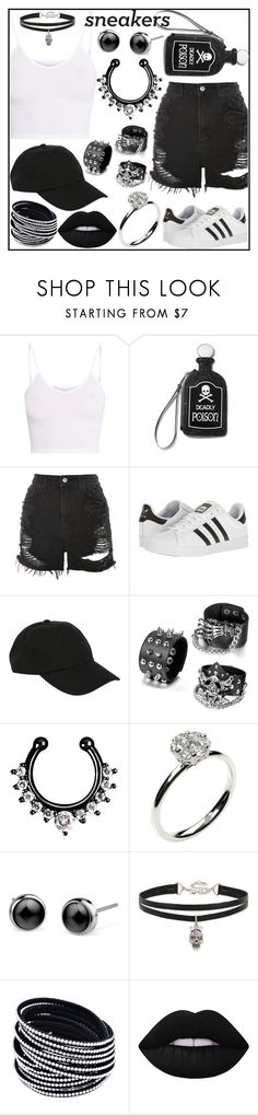 """""""Contest #17"""" by heyitsmakara ❤ liked on Polyvore featuring Current Mood, Topshop, adidas, Hot Topic, Annoushka, Betsey Johnson, Lime Crime, white, black and like4like"""