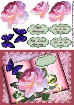 This 3D card front is really pretty, called rose book blue, it is photo quality, and can be used for many reasons. It has 4 labels,Happy Birthday , Congratulations Sent To You With Love, With Deepest Sympathy and Always Remember You Are. Never Forgotten. but of course you can use your own words. It also comes in other different colours under different numbers to suit your style. When finished fits ant A5 envelope.