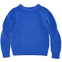 Pre-owned Sandro Wool Jumper ($111) ❤ liked on Polyvore featuring tops, sweaters, blue, women clothing knitwear, knitwear sweater, blue sweater, blue jumper, short tops and raglan top