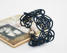 Dark blue lace bracelet Midnight sky blue bracelet by LacedMood