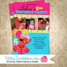 Personalized Modern Pink Elmo Invites with three photo of your little one. It can be customized to one photo if needed. Elmo Birthday Invitations, Monkey Invitations, Pink Invitations, Invites, Birthday Photos, 2nd Birthday, First Photo, Stripes, Anniversary Pictures