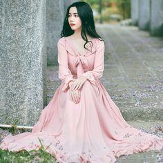 Aliexpress.com : Buy Free Shipping Yuzi  New Vintage&Retro High Waist Romantic Dresses  Pink Bow Ruffles Hem Long Chiffon Maxi Women  Dress LX7714Q from Reliable chiffon sleeve dress suppliers on Yuzimay Authorized Store