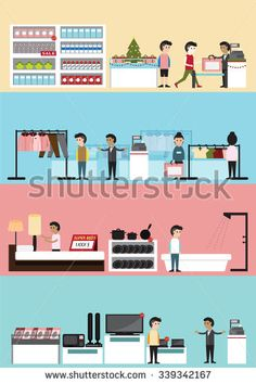 Flat cartoon department store building interior and layout for supermarket, clothing boutique, household, electronic seasonal sale in Christmas with customer and employee banner background (vector)
