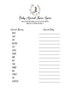 Baby Animal Name Game Bunny Baby Shower  by RaindropLollipops, $5.00