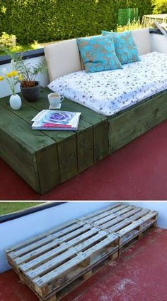 Project: Patio Day Bed Use pallets to create a modern and chic patio daybed - why buy expensive outdoor furniture when you can make it yourself!Use pallets to create a modern and chic patio daybed - why buy expensive outdoor furniture when you can make it Pallet Crafts, Pallet Projects, Home Projects, Pallet Ideas, Diy Crafts, Pallet Daybed, Patio Daybed, Diy Pallet Couch, Diy Daybed