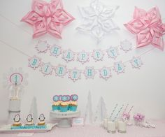 Winter Onederland Party Package - Winter Snowflake Birthday Theme. $58.00, via Etsy EMTsweeetie