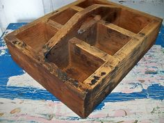 Handmade Vintage Primitive Wood Tool Box Rustic Wooden Tote With Handle Anita…