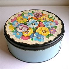 1950s, Aqua, Covered Tin, Pansies, Floral, Vintage, Kitchen