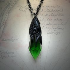 Tentacled Emerald Green Glass Crystal
