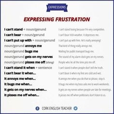 Functions - Expressing Frustration in English English Vinglish, English Writing, English Study, Learn English, English Phrases, English Words, English Lessons, English Grammar, Grammar And Vocabulary